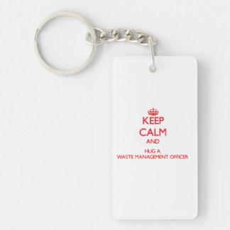 Keep Calm and Hug a Waste Management Officer Double-Sided Rectangular Acrylic Keychain