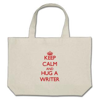 Keep Calm and Hug a Writer Tote Bags