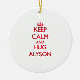 Keep Calm and Hug Alyson Double-Sided Ceramic Round Christmas Ornament