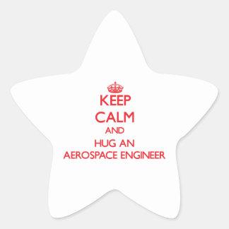 Keep Calm and Hug an Aerospace Engineer Star Sticker