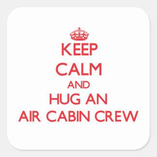 Keep Calm and Hug an Air Cabin Crew Square Sticker