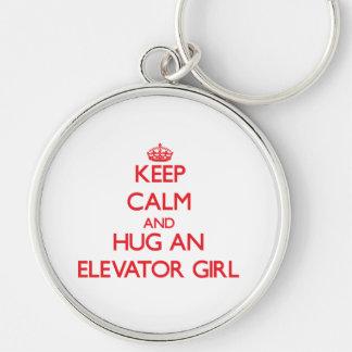 Keep Calm and Hug an Elevator Girl Key Chains