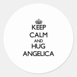 Keep Calm and HUG Angelica Round Stickers