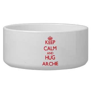 Keep Calm and HUG Archie Dog Water Bowl