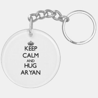 Keep Calm and Hug Aryan Double-Sided Round Acrylic Key Ring