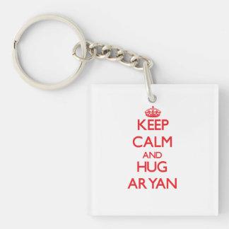 Keep Calm and HUG Aryan Double-Sided Square Acrylic Key Ring