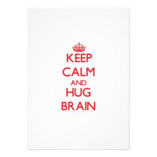 Keep Calm and HUG Brain Custom Invitation