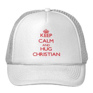 Keep Calm and HUG Christian Trucker Hats