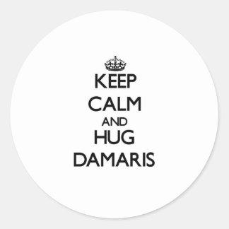 Keep Calm and HUG Damaris Classic Round Sticker
