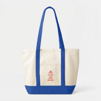 Keep Calm and HUG Drake Tote Bags