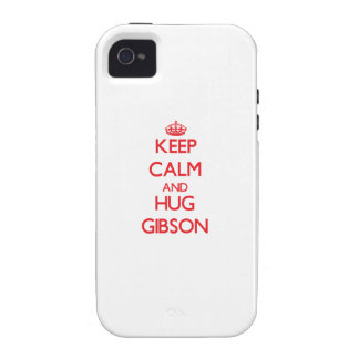 Keep calm and Hug Gibson Case-Mate iPhone 4 Cases