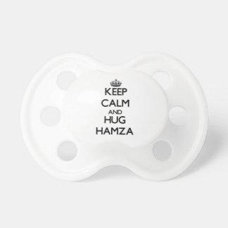 Keep Calm and Hug Hamza Baby Pacifiers