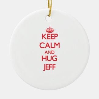 Keep Calm and HUG Jeff Round Ceramic Decoration