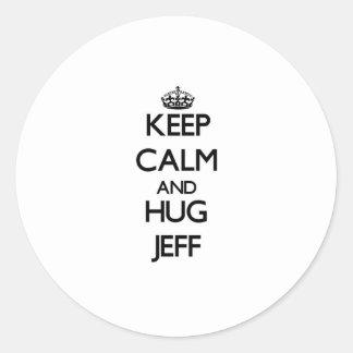 Keep Calm and HUG Jeff Stickers