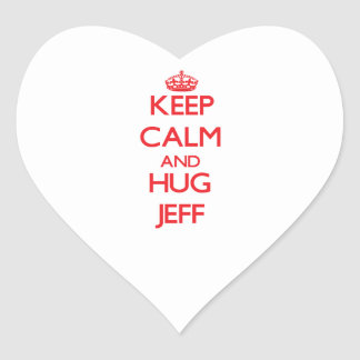 Keep Calm and HUG Jeff Heart Sticker