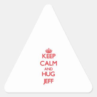 Keep Calm and HUG Jeff Triangle Sticker