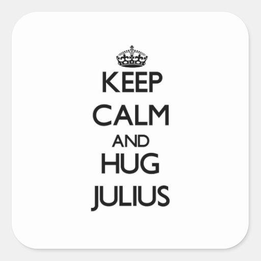 Keep Calm and Hug Julius Square Stickers