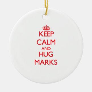 Keep calm and Hug Marks Christmas Tree Ornament