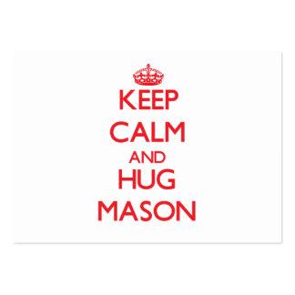 Keep calm and Hug Mason Business Card Template
