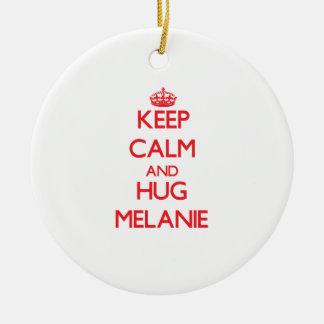 Keep Calm and Hug Melanie Round Ceramic Decoration