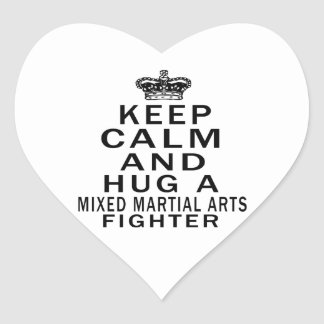 Keep Calm And Hug Mixed martial arts Fighter Heart Stickers