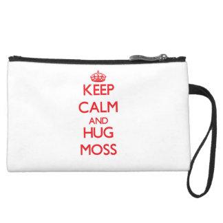 Keep calm and Hug Moss Wristlet Clutch