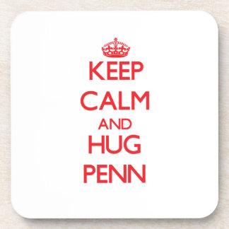 Keep calm and Hug Penn Beverage Coasters