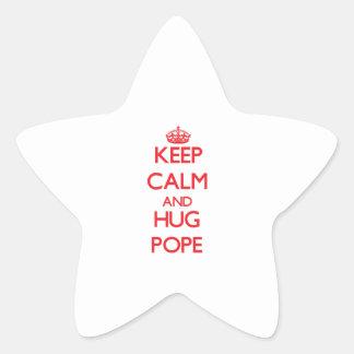 Keep calm and Hug Pope Star Sticker