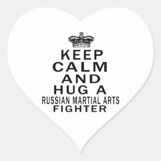 Keep Calm And Hug Russian Martial Arts Fighter Heart Sticker