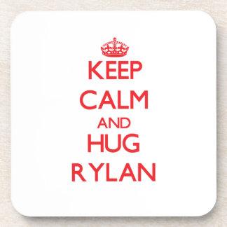 Keep Calm and HUG Rylan Beverage Coasters