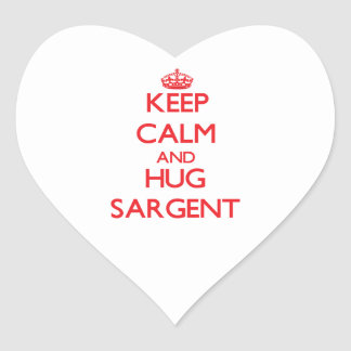 Keep calm and Hug Sargent Heart Stickers