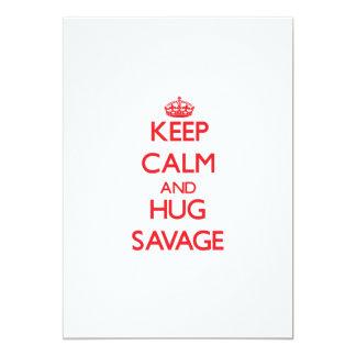 Keep calm and Hug Savage 13 Cm X 18 Cm Invitation Card