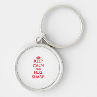 Keep calm and Hug Sharp Silver-Colored Round Key Ring