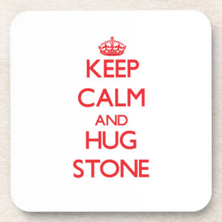 Keep calm and Hug Stone Beverage Coaster