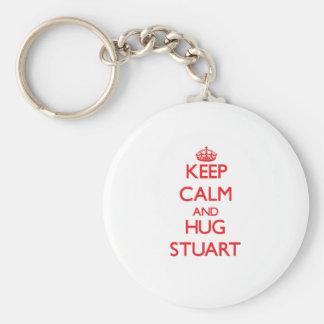 Keep calm and Hug Stuart Key Chains