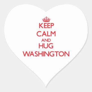 Keep calm and Hug Washington Heart Sticker