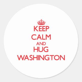 Keep calm and Hug Washington Round Stickers