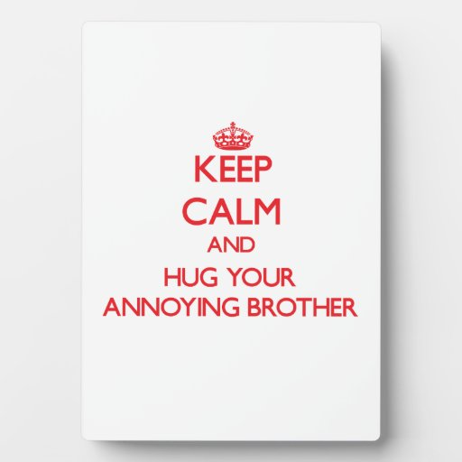 Keep Calm and HUG  your Annoying Brother Display Plaques