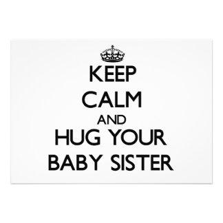 Keep Calm and Hug your Baby Sister Invites