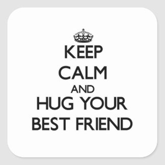 Keep Calm and Hug your Best Friend Square Sticker