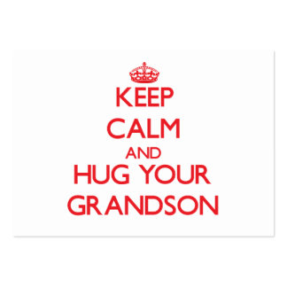 Keep Calm and HUG  your Grandson Pack Of Chubby Business Cards
