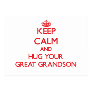 Keep Calm and HUG  your Great Grandson Pack Of Chubby Business Cards