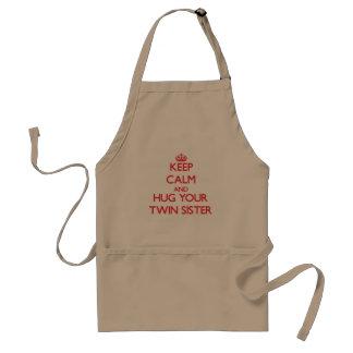 Keep Calm and HUG  your Twin Sister Standard Apron