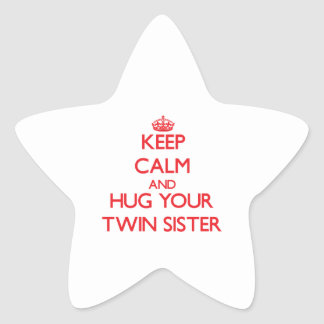 Keep Calm and HUG your Twin Sister Star Stickers