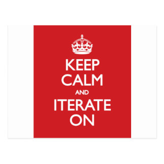 Keep calm and iterate on vykort