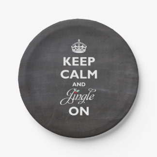 Keep Calm And Jingle On Chalkboard Funny Holiday 7 Inch Paper Plate