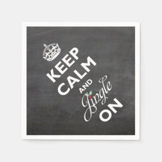 Keep Calm And Jingle On Chalkboard Funny Holiday Paper Napkin