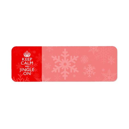 Keep Calm And Jingle On Red Decor Return Address Label