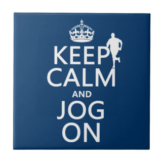 Keep Calm and Jog On Small Square Tile