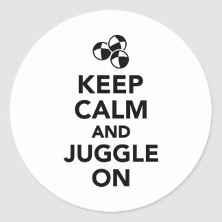 Keep calm and juggle on round stickers